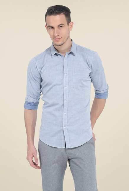 Basics Blue Solid Full Sleeve Shirt