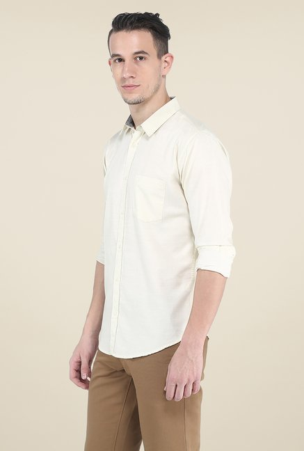 Basics Yellow Solid Slim Fit Shirt