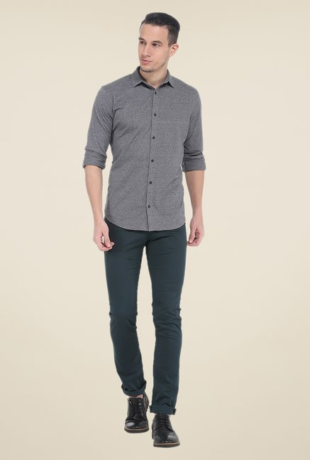 Basics Grey Textured Full Sleeve Cotton Shirt