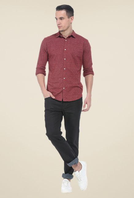 Basics Maroon Textured Shirt
