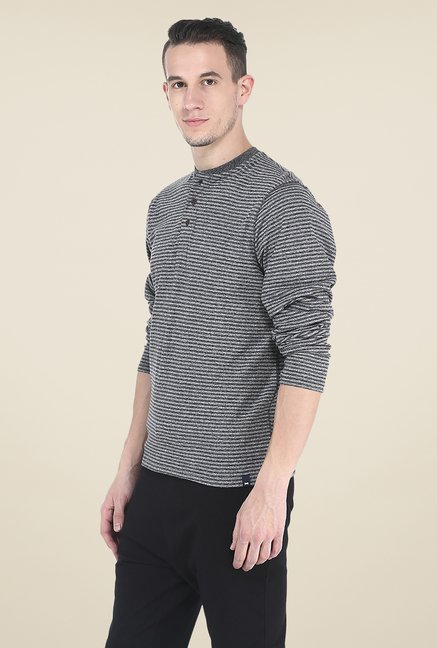 Basics Grey Striped T Shirt