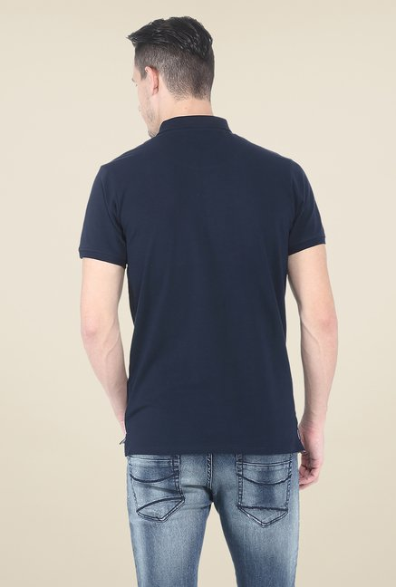 Basics Navy Polo Solid T Shirt