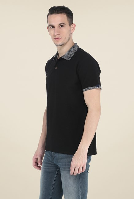 Basics Black Polo Solid T Shirt