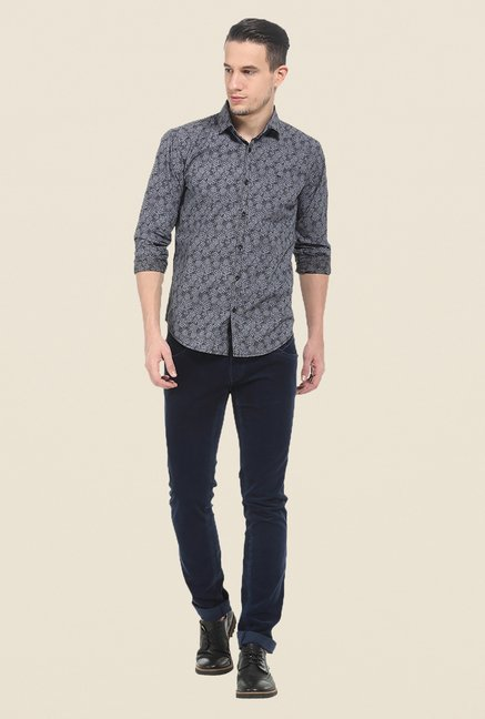 Basics Grey Printed Slim Fit Cotton Shirt
