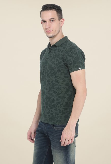 Basics Green Polo Printed T Shirt