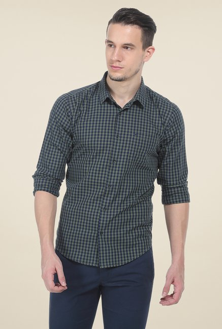 Basics Olive Checks Slim Fit Cotton Shirt