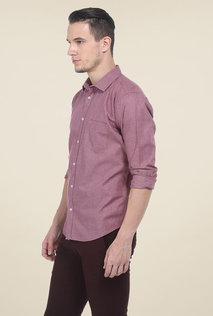 Basics Purple Textured Shirt