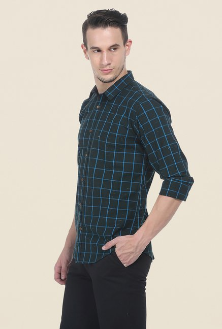 Basics Green Slim Fit Full Sleeve Shirt