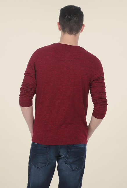 Basics Red Textured T Shirt