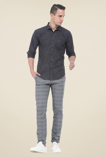 Basics Grey Checks Elastane Tapered Fit Chinos