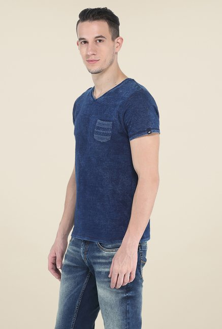 Basics Blue Printed T Shirt