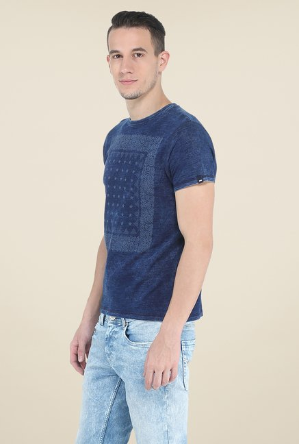 Basics Blue Printed Crew T Shirt