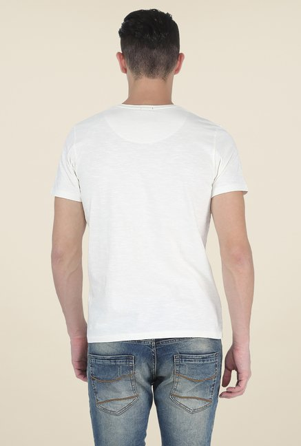 Basics Ecru Printed T Shirt