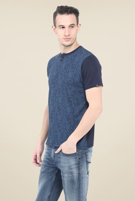 Basics Navy Printed T Shirt