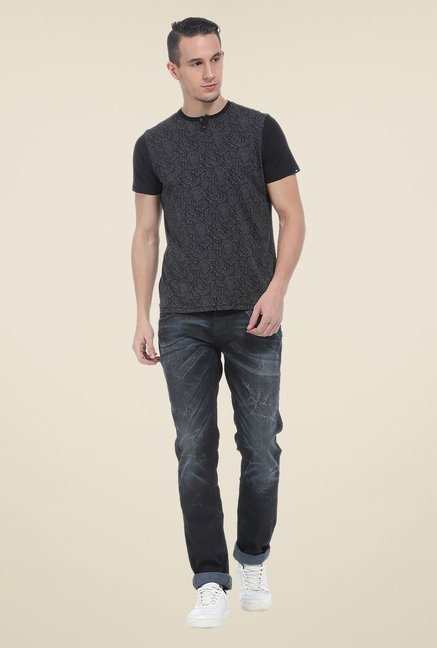 Basics Dark Grey Printed T Shirt