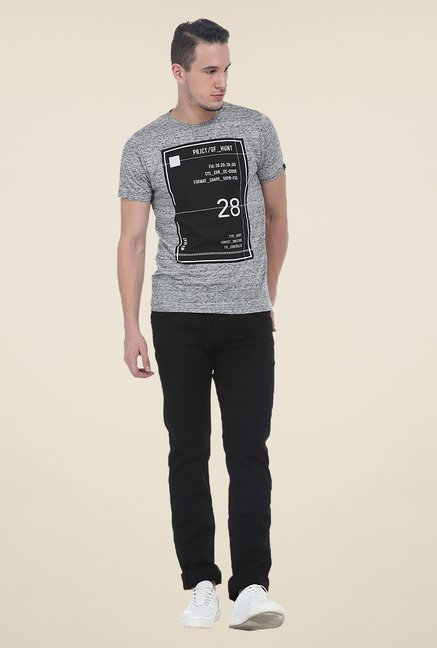 Basics Grey Printed Crew T Shirt