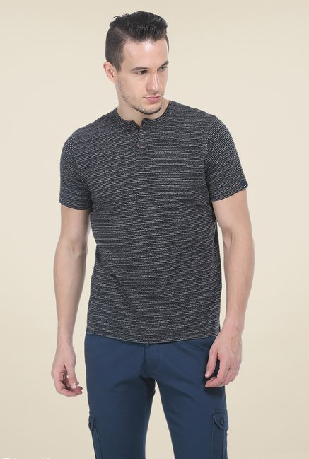 Basics Black Printed T Shirt