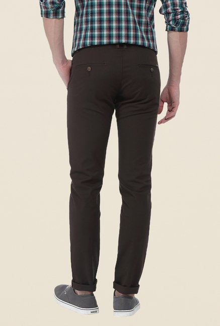 Basics Brown Solid Elastane Tapered Fit Chinos
