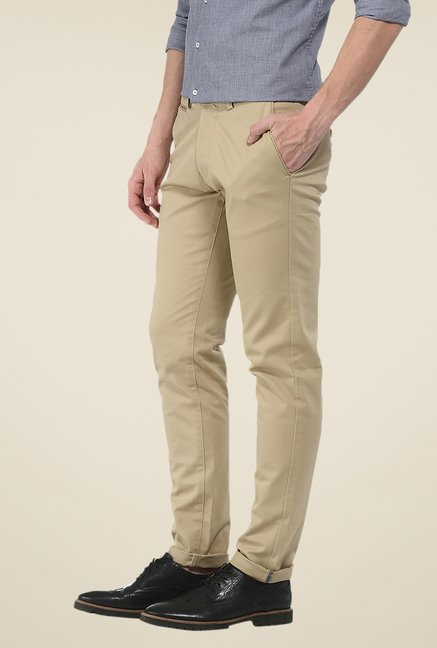 Basics Beige Solid Elastane Tapered Fit Chinos