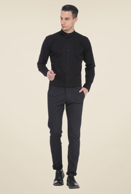Basics Black Textured Tapered Fit Chinos