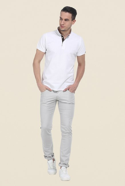 Basics Ecru Striped Chinos