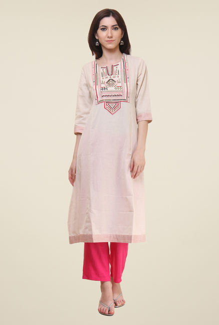 Shree Off White Embroidered Kurti