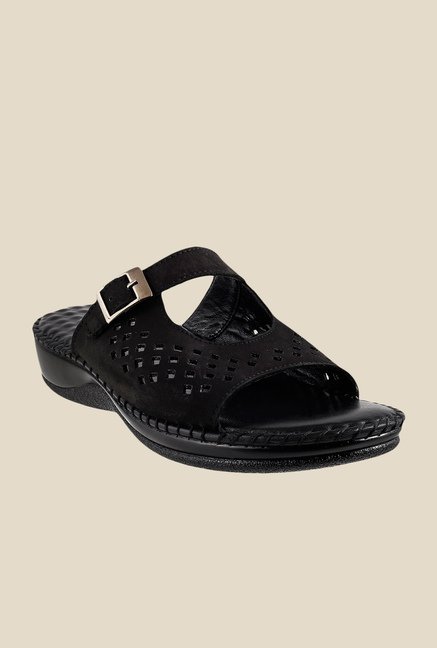 Mochi Black Wedge Heeled Sandals