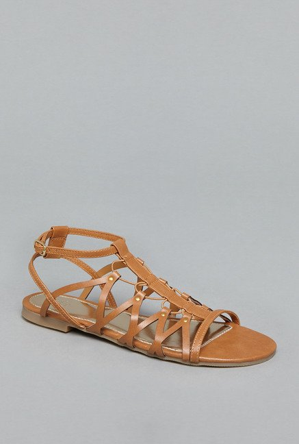 Head Over Heels by Westside Tan Flat Sandals