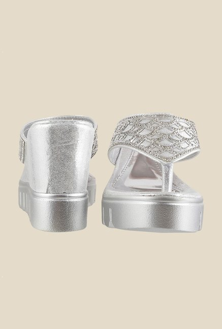 Mochi Silver Wedge Heeled Thong Sandals