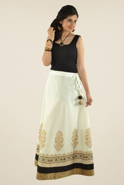 9rasa Off White Printed Flared Skirt