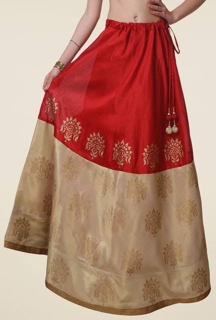 9rasa Red & Beige Printed Flared Skirt