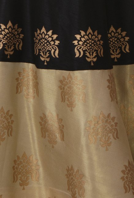9rasa Black & Beige Printed Flared Skirt