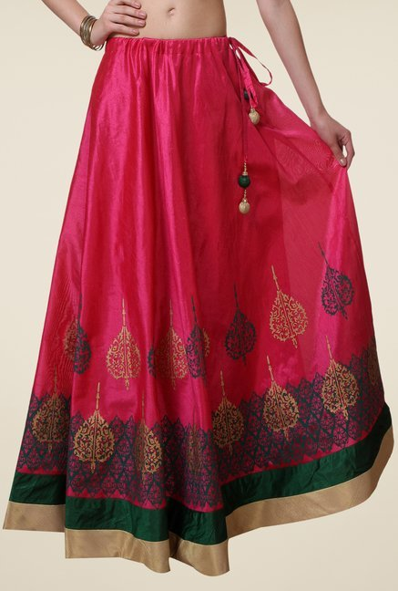 9rasa Fuchsia Block Print Flared Skirt