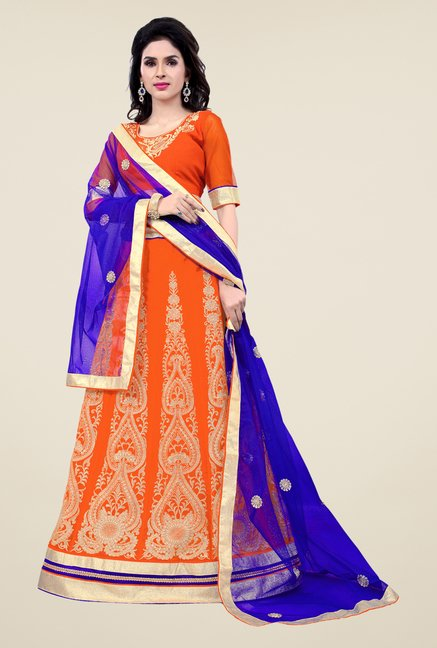 Occeanus Orange Semi Stitched Lehenga Set