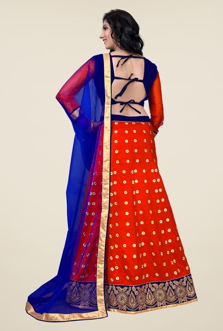 Occeanus Blue & Red Semi Stitched Lehenga Set