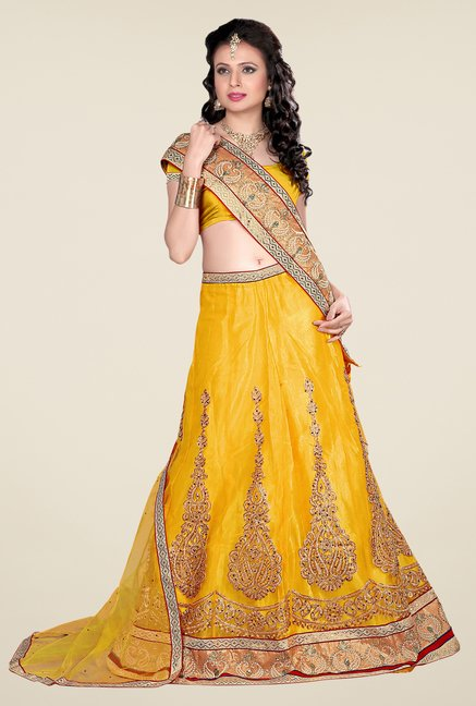 Occeanus Yellow Net Semi Stitched Lehenga Set