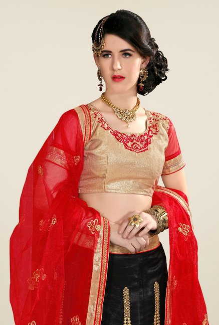 Occeanus Beige & Black Semi Stitched Lehenga Set