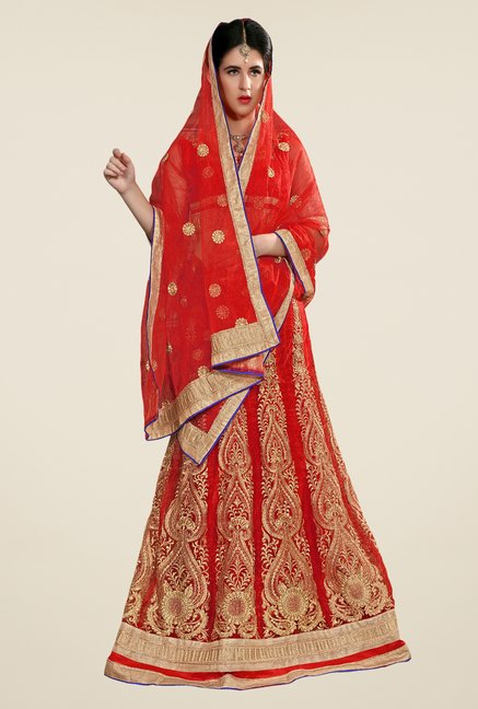 Occeanus Red Embroidered Net Semi Stitched Lehenga Set