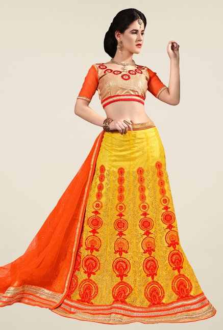 Occeanus Beige & Yellow Semi Stitched Lehenga Set