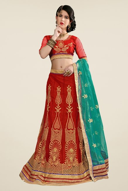 Occeanus Maroon Embroidered Net Semi Stitched Lehenga Set