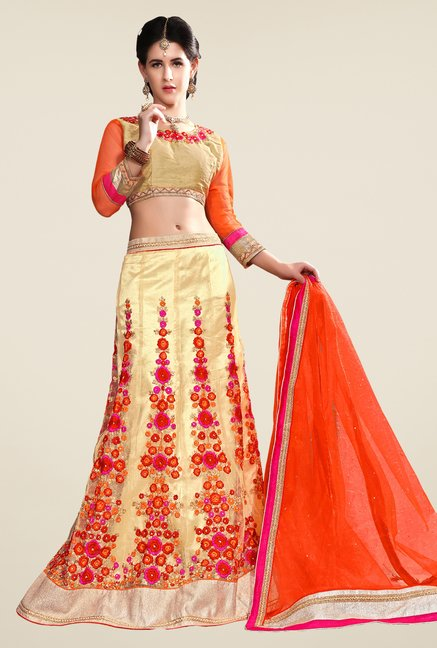 Occeanus Beige Embroidered Net Semi Stitched Lehenga Set