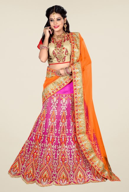 Occeanus Beige & Pink Embroidered Georgette Lehenga Set