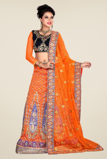 Occeanus Navy & Orange Embroidered Net Lehenga Set