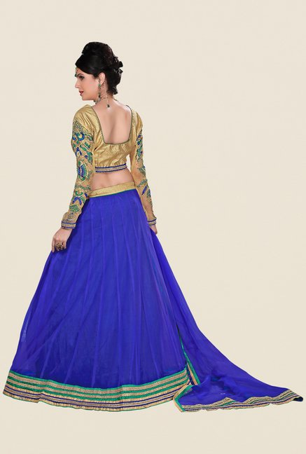 Occeanus Beige & Blue Embroidered Net Designer Lehenga Set