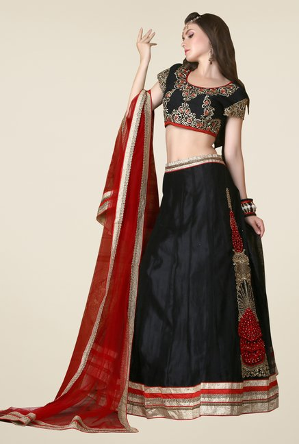 Occeanus Black Embroidered Net Lehenga Set
