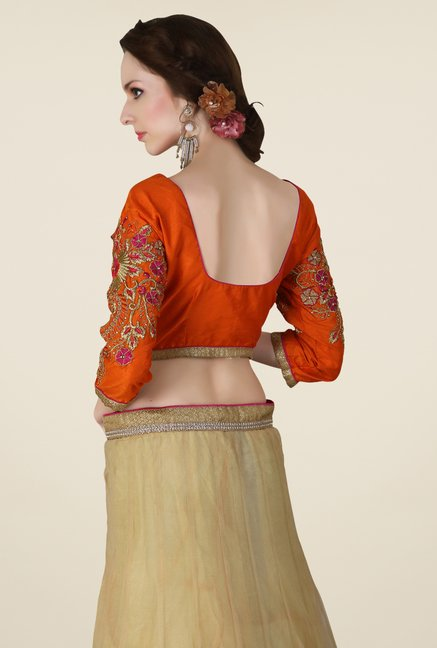 Occeanus Orange & Beige Embroidered Net Designer Lehenga Set