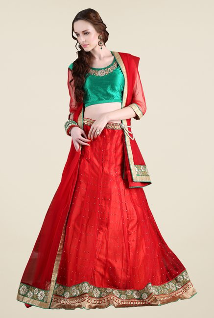 Occeanus Green & Red Net Designer Lehenga Set