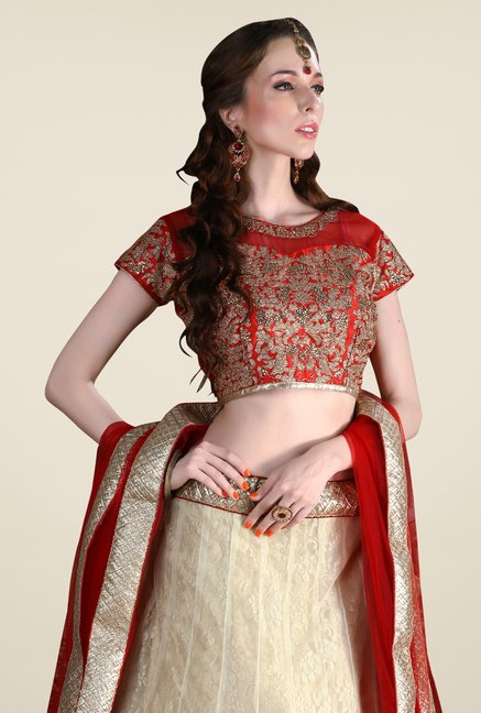 Occeanus Red & Beige Embroidered Net Designer Lehenga Set
