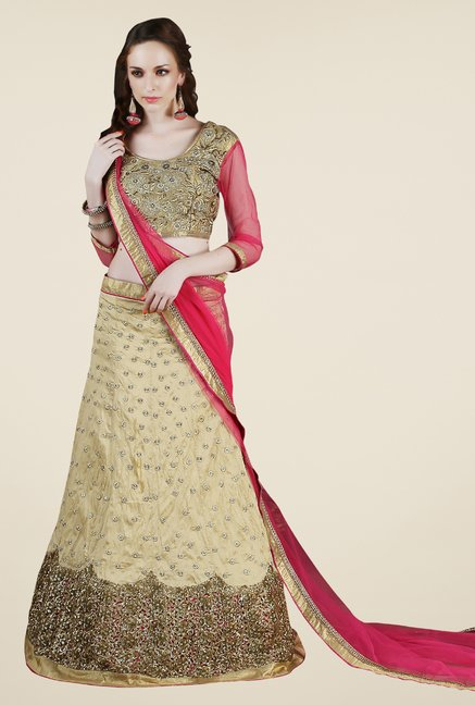 Occeanus Beige Embroidered Georgette Lehenga Set