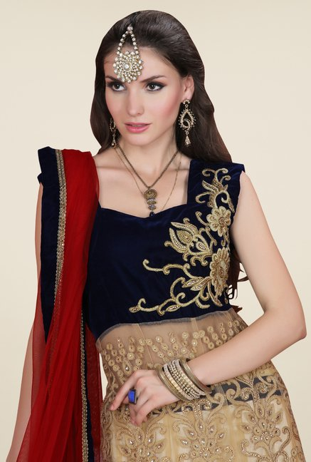 Occeanus Navy & Beige Embroidered Net Designer Lehenga Set